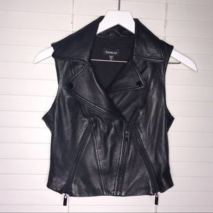 Black Leather Collared Vest With Zippers